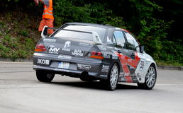 Mitsubishi Evo. Mitsubisi Evo at Jankov Vršok at the races Royalty Free Stock Photography