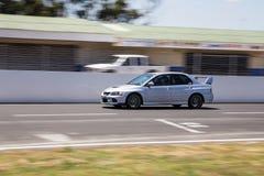 Mitsubishi Evo in Motie royalty-vrije stock foto's