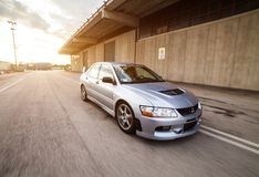 Mitsubishi EVO 8. Trieste, Italy - SEPTEMBER 3, 2013: Photo of Mitsubishi EVO 8 .The Lancer Evolution 8 sedan features a newly designed 4B11T 2.0L 1998cc royalty free stock photo