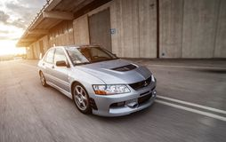Mitsubishi EVO 8. Trieste, Italy - SEPTEMBER 3, 2013: Photo of Mitsubishi EVO 8 .The Lancer Evolution 8 sedan features a newly designed 4B11T 2.0L 1998cc royalty free stock images