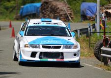 Mitsubishi Evo VIII. Race car during speed racing uphill Favale Castle that took place at Favale di Malvaro on 3 June 2018 royalty free stock images