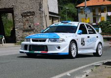 Mitsubishi Evo VIII. Race car during speed racing uphill Favale Castle that took place at Favale di Malvaro on 3 June 2018 royalty free stock photos