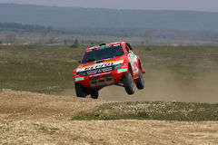Mitsubishi jumping. Dakar winner Mitsubishi jumping on Central Europe Rally Stock Photo