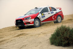 Mitsubishi Lancer - 2012 Kuwait Rally Royalty Free Stock Photo