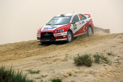 Mitsubishi Lancer Evo - 2012 Kuwait Rally Royalty Free Stock Photography