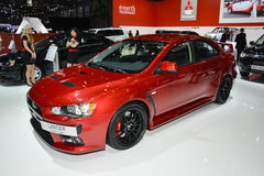 Mitsubishi Lancer EVO. On display during the Geneva Motor Show, Geneva, Switzerland, March 4, 2014 stock photo