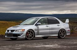 Mitsubishi Lancer EVO. Image of a 2003 Mitsubishi Lancer Evolution at a drag racing event in Iceland Royalty Free Stock Photography