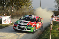 Mitsubishi Lancer Evo IX   rally car. The Mitsubishi Lancer Evo IX  driven by Giovanni Manfrinato during the 4th edition of Rally Ronde Balcone delle Marche Stock Photos
