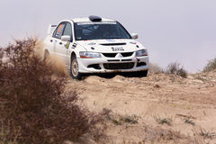 Mitsubishi Lancer Evo - Kuwait Rally Royalty Free Stock Photo