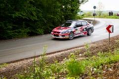 Mitsubishi Lancer Evo X on Miskolc Rally Hungary. 2016 Stock Photo
