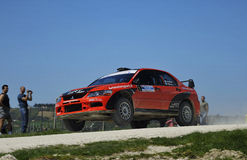 Mitsubishi lancer Evo X jumping Stock Photography