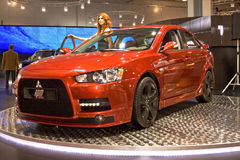 Mitsubishi Lancer Evolution RPM. At the Moscow International Automobile Salon, motor show. For the first time in the history MIAS-2008 was granted A-category Royalty Free Stock Photos