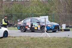 Mitsubishi Lancer X, Japanese sports car racing at Chaika motor racing circuit, day race, Kyiv Ukraine 09.04.2016, editorial photo. Mitsubishi Lancer X, Japanese Stock Images