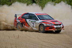 Mitsubishi Lancer in rally Stock Photo