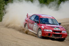 Mitsubishi Lancer in rally Stock Photo