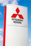 Mitsubishi logo on a sign outside the car or automotive dealersh Royalty Free Stock Photography