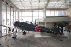 Mitsubishi A6M Zero at Yushukan museum. An A6M Zero Model 52 at Yushukan museum, in Yasukuni Shrine. This is one of the few surviving Zeros in Japan stock photos