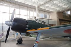 Mitsubishi A6M Zero at Yushukan museum. An A6M Zero Model 52 at Yushukan museum, in Yasukuni Shrine. This is one of the few surviving Zeros in Japan stock photography