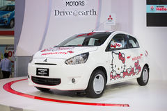 Mitsubishi Mirage meets hello kitty at The 30th Thailand International Motor Expo on December 3, 2013 in Bangkok, Thailand Stock Photo