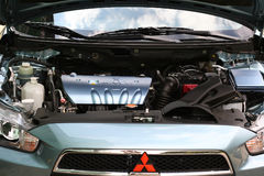 Mitsubishi Mivec Lancer engine bay. Mitsubishi Lancer Mivec engine bay compartment and front end Stock Photography