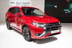 2016 Mitsubishi Outlander PHEV. FRANKFURT, GERMANY - SEP 16, 2015: European Premiere of the new 2016 Mitsubishi Outlander PHEV at the IAA 2015 Royalty Free Stock Photo
