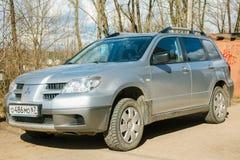 Mitsubishi OutlanderAirtrek parked in suburbia street of Smolensk City. Stock Photo