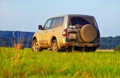 Mitsubishi Pajero. On a mountain meadow Royalty Free Stock Images
