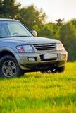 Mitsubishi Pajero. On a mountain meadow Stock Photo