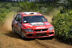 Mitsubishi rally car on track Stock Photography