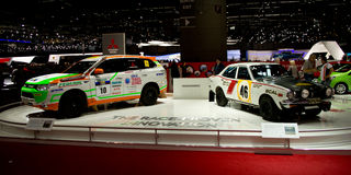 Mitsubishi rally cars Geneva 2014 Stock Photography