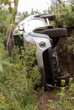 Mitsubishi Triton rolled over while doing off-road trail. Stock Image
