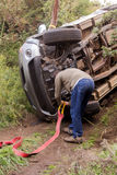 Mitsubishi Triton rolled over while doing off-road trail. Royalty Free Stock Photo
