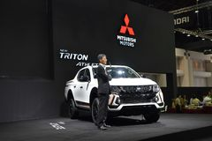 Mitsubishi Triton uppsamlingar i den Thailand internationalen bilar expon 2017 arkivfoto