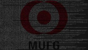 Mitsubishi UFJ Financial Group MUFG logo made of source code on computer screen. Editorial 3D rendering. Mitsubishi UFJ Financial Group logo made of source code Royalty Free Stock Images