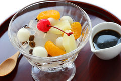 Mitsumame with fruits, japanese summer dessert of Royalty Free Stock Image