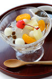 Mitsumame with fruits, japanese summer dessert of Royalty Free Stock Images