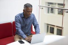 Mitt åldrades svarta mannen använder bärbara datorn på mezzaninen, höjd sikt Royaltyfria Foton