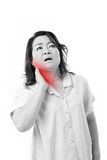 Mitt åldrats kvinnalidande från hals smärtar arkivfoto