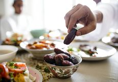 Mitt - östligt Suhoor eller Iftar mål arkivbilder