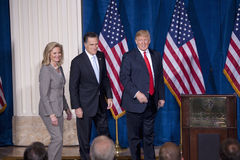 Mitt and Ann Romney and Donald Trump stock images