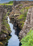 Mitt- atlantiska Ridge, Thingvellir, Island Arkivbilder