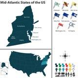 Mitt- atlantiska stater av Förenta staterna stock illustrationer