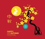 Mitt- Autumn Festival med lykta- och kaninbakgrund Översättning: Mitt- höst vektor illustrationer