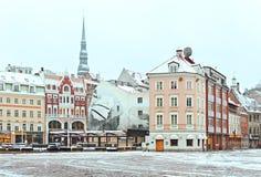 Mitt av den gamla Riga staden, Lettland Arkivfoton