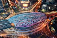 Mitt av det Yangpu området i Shanghai Arkivfoto