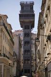 Mitt av Lissabon med den berömda Santa Justa elevatorn Royaltyfri Foto