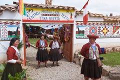 Mitt av textilproduktion i Cusco Peru arkivfoton