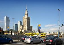 Mitt av Warszawa - slott av kultur och vetenskap Royaltyfria Bilder