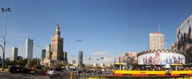 Mitt av Warszawa - slott av kultur och vetenskap Arkivbilder