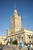 Mitt av Warszawa - slott av kultur och vetenskap Arkivfoton